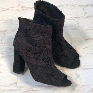 Torrid black Lace peep toe heel booties. Size 9.5